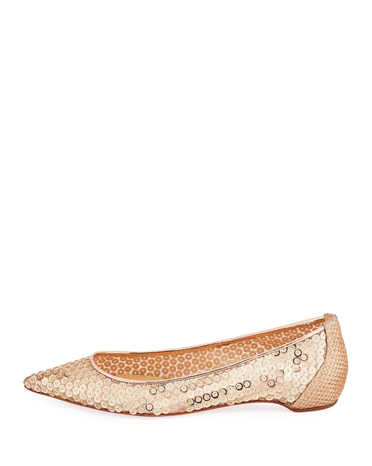b2c14fda1fd4 ... shopping lyst christian louboutin lace sequined red sole ballet flats  in natural 9d66b d5208