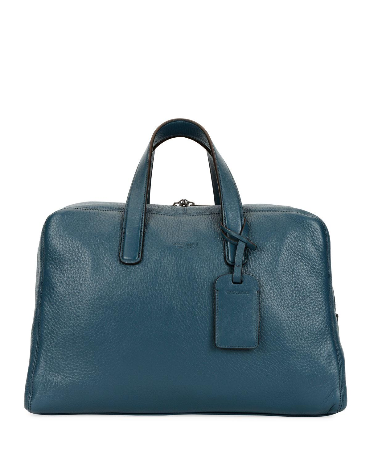 297901fae1f2 Lyst - Giorgio Armani Men s Deer Leather Carryall Duffel Bag in Blue ...