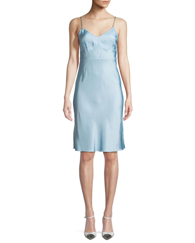 7c60e32c63c0 Helmut Lang Compact Viscose Slip Dress in Blue - Save 5% - Lyst