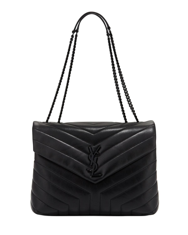 de4f7edad5 Lyst - Saint Laurent Monogram Loulou Medium Chain Bag With Noir ...