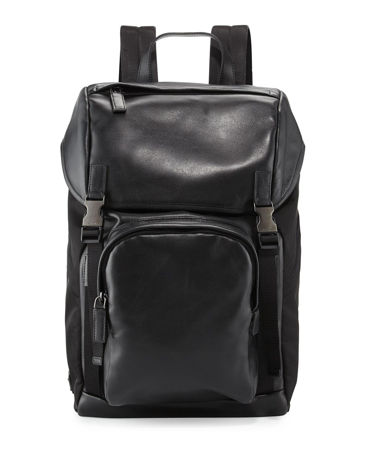 Lyst Prada Men S Leather Amp Nylon Backpack In Black For Men