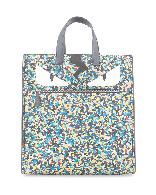 402208fadc9c Lyst - Fendi Monster Eyes Confetti-print Nylon Tote Bag for Men