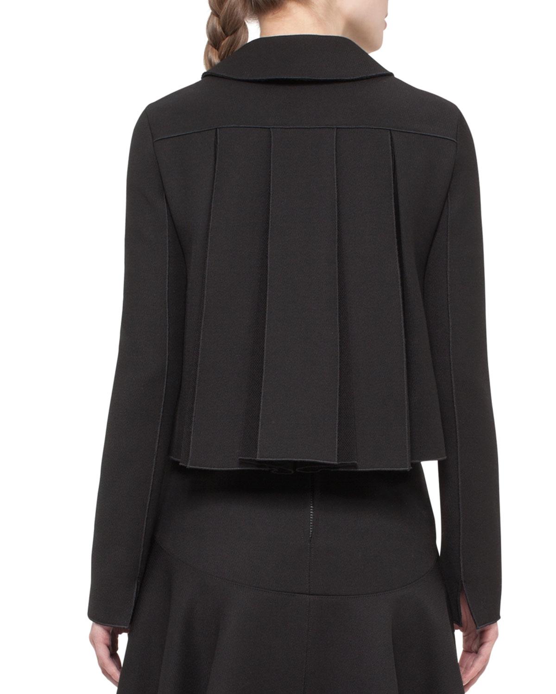 Lyst Akris Punto Pleated Black Cropped Jacket In Black