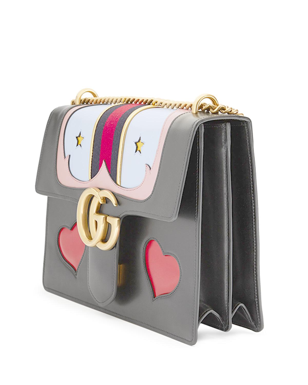 43507f610a54 Gucci Gg Marmont Medium Web Heart Shoulder Bag - Lyst