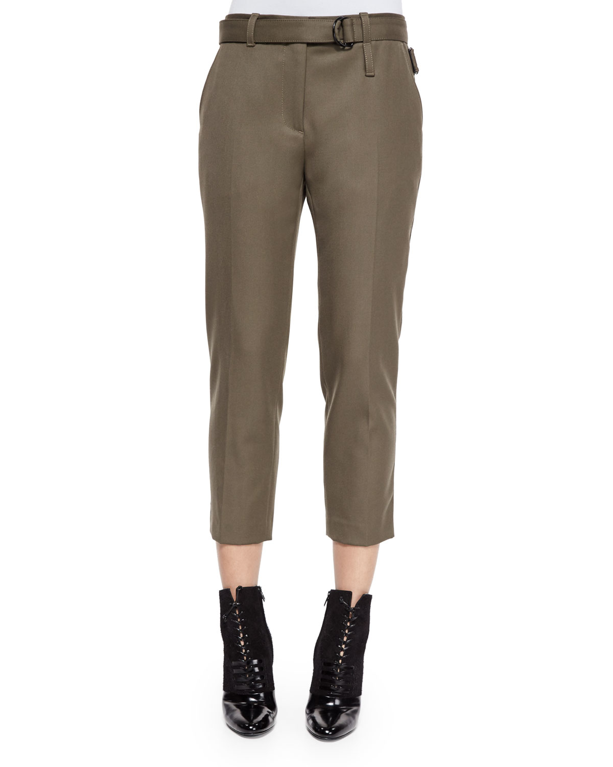 3.1 phillip lim Cropped Wool Utility Pants in Brown | Lyst