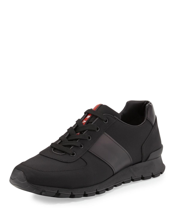 Prada Leather & Nylon Running Sneaker in Black for Men | Lyst