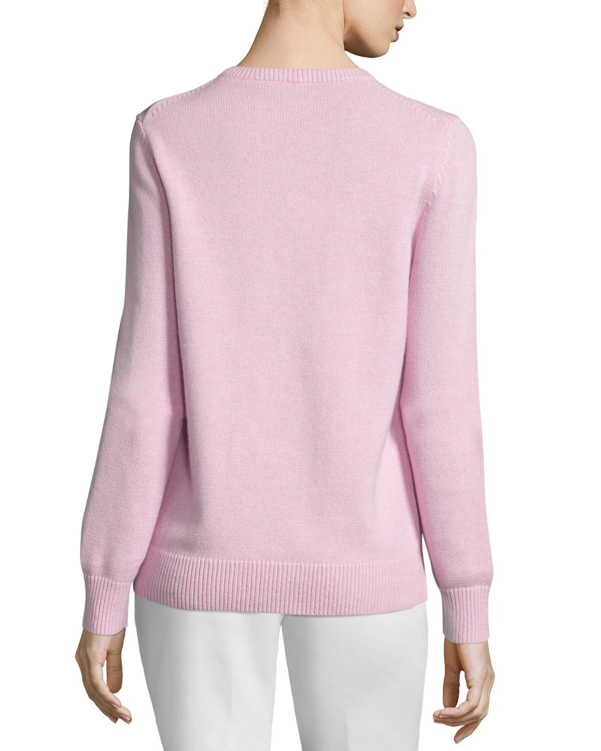 michael kors cotton cashmere long sleeve sweater in pink lyst. Black Bedroom Furniture Sets. Home Design Ideas