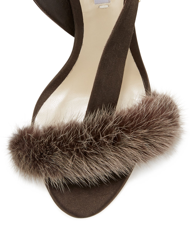Olgana Paris L Amazone Mink Fur Sandal In Brown Lyst