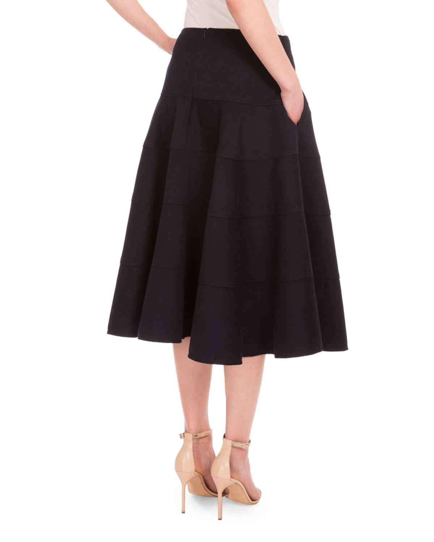 Victoria Beckham Seamed Full Cashmere Skirt In Black