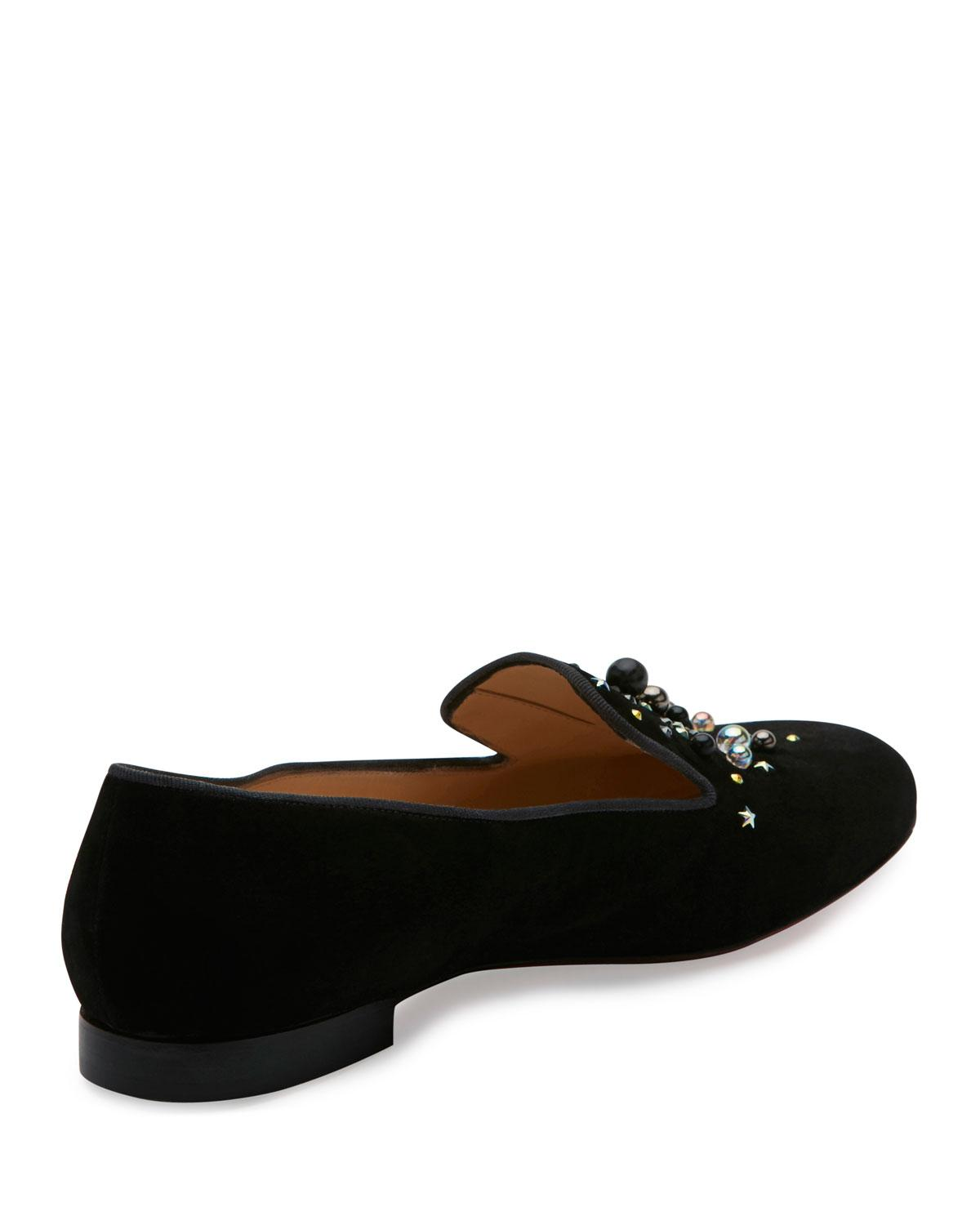 d782d6104142 Lyst - Christian Louboutin Candy Moc Jeweled Red Sole Loafer in Black