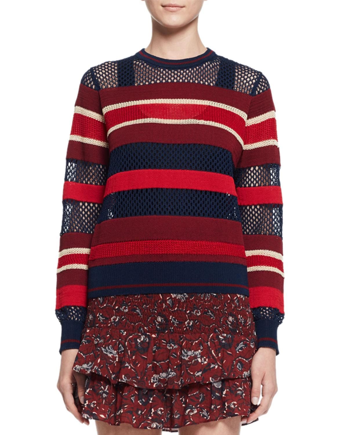toile isabel marant deacon ribbed mesh trim pullover sweater in blue lyst. Black Bedroom Furniture Sets. Home Design Ideas