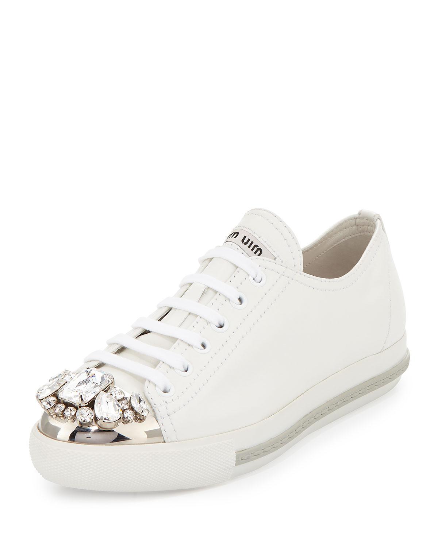 Miu Miu Jeweled Cap Toe Leather Sneaker In White Lyst