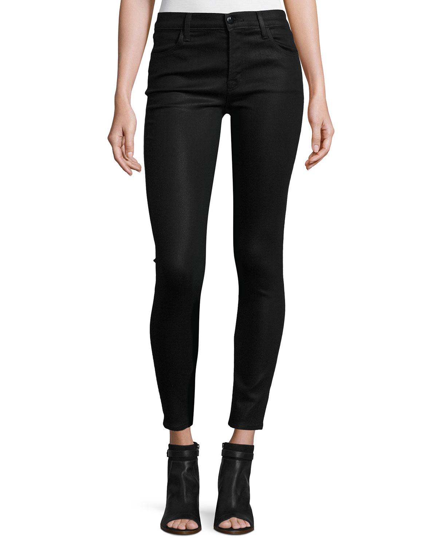 lyst j brand mid rise coated skinny ankle jeans in black. Black Bedroom Furniture Sets. Home Design Ideas