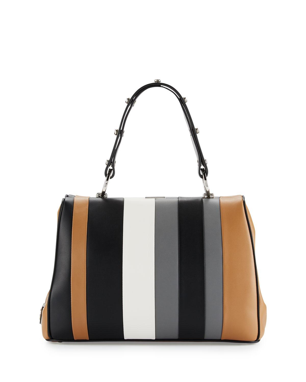 d2f8984b49 ... closeout lyst prada baiadera striped leather satchel bag in gray a8703  ed07b