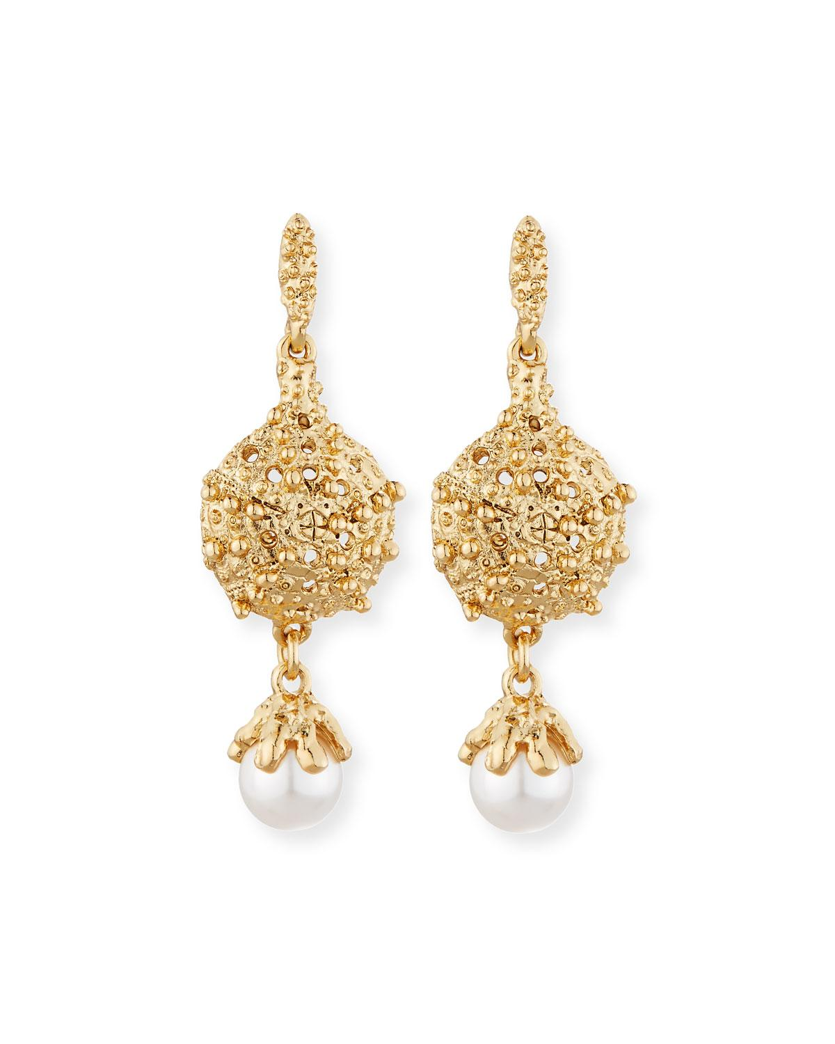 Lyst Oscar De La Renta Urchin Pearly Drop Earrings In