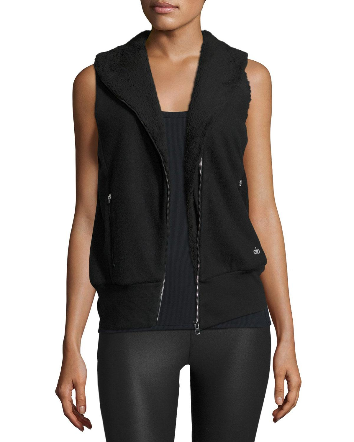 Alo Yoga Flat Iron Sherpa-lined Athletic Vest In Black