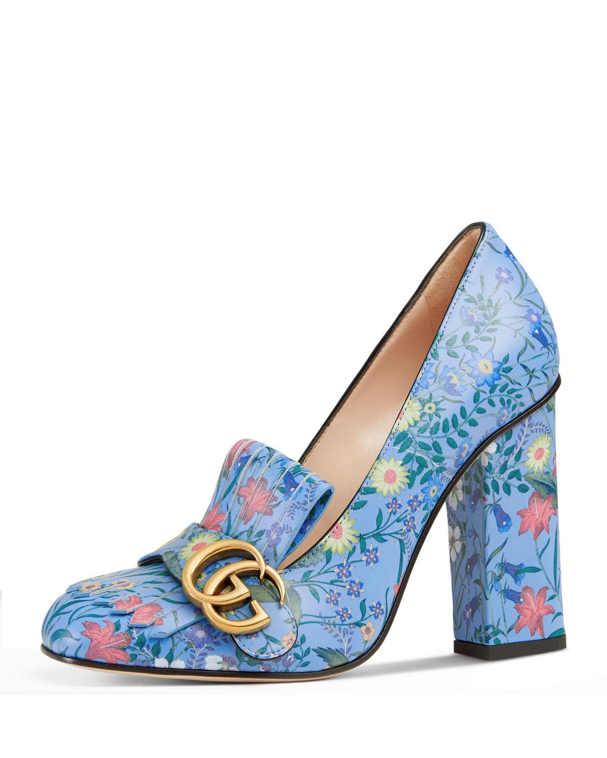Lyst Gucci Marmont New Floral Loafer Pump In Blue