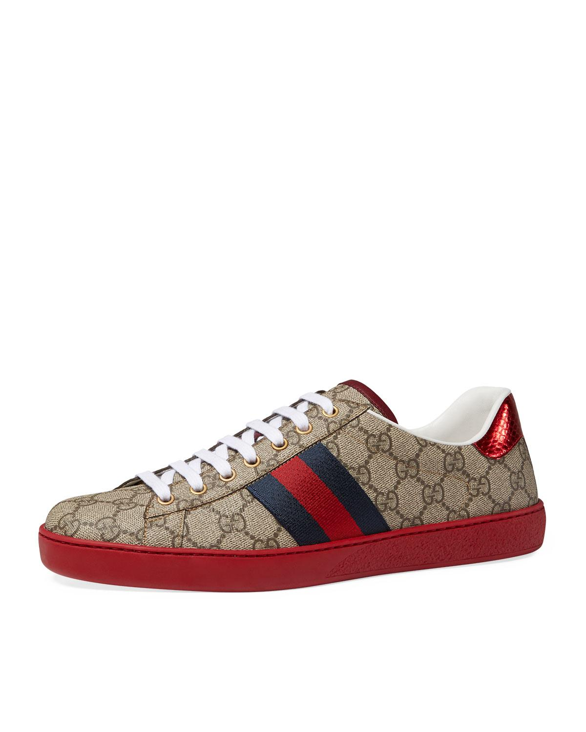 Gucci New Ace Gg Supreme Low Top Sneaker In Red For Men Lyst