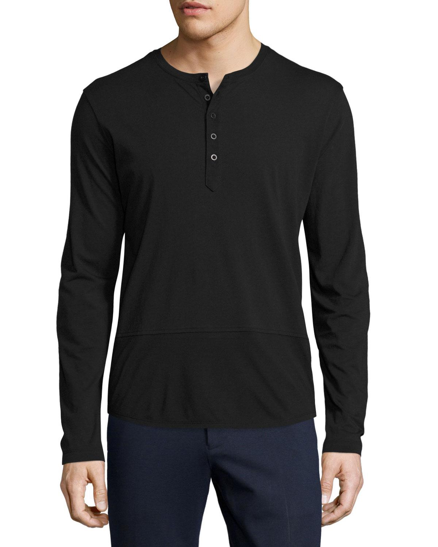 Lyst atm mixed media henley t shirt in black for men for Atm t shirt sale