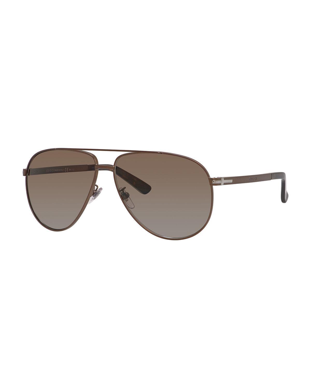 Gucci Polarized Injected Propionate Aviator Sunglasses In
