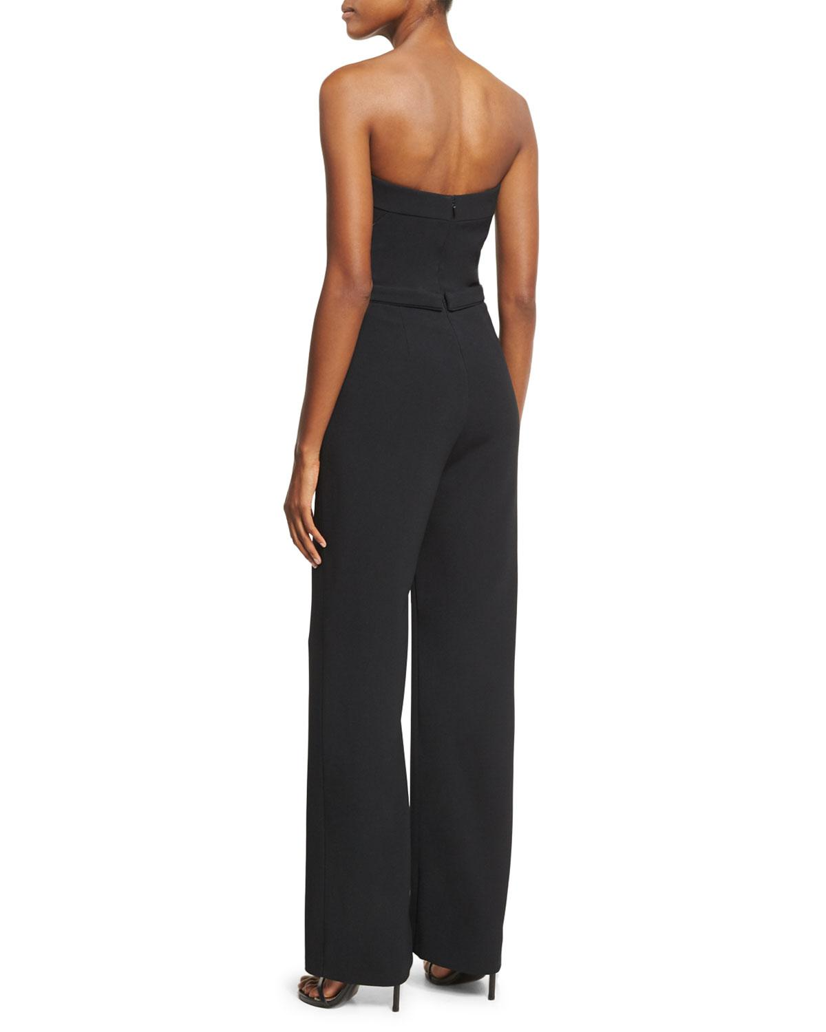 Pamella Roland Pearly Beaded Strapless Crepe Jumpsuit In