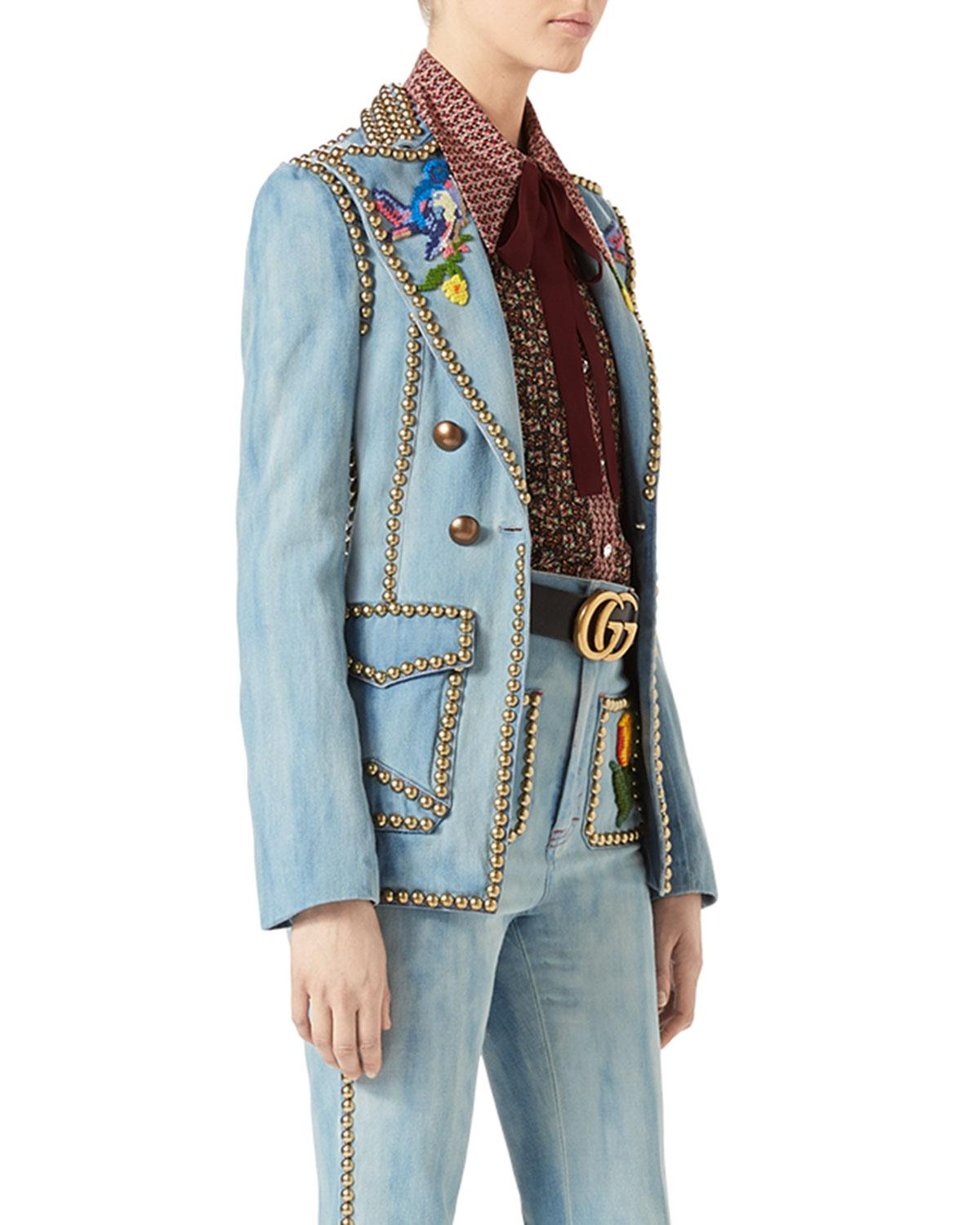 Lyst Gucci Embroidered Denim Jacket With Studs In Blue