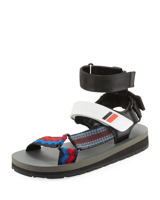 Prada Grip Strap Sport Sandal In Black Lyst