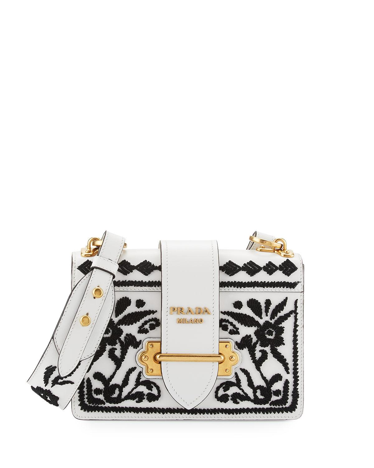c94b4c9aabe5 Lyst - Prada Embroidered Cahier Bag