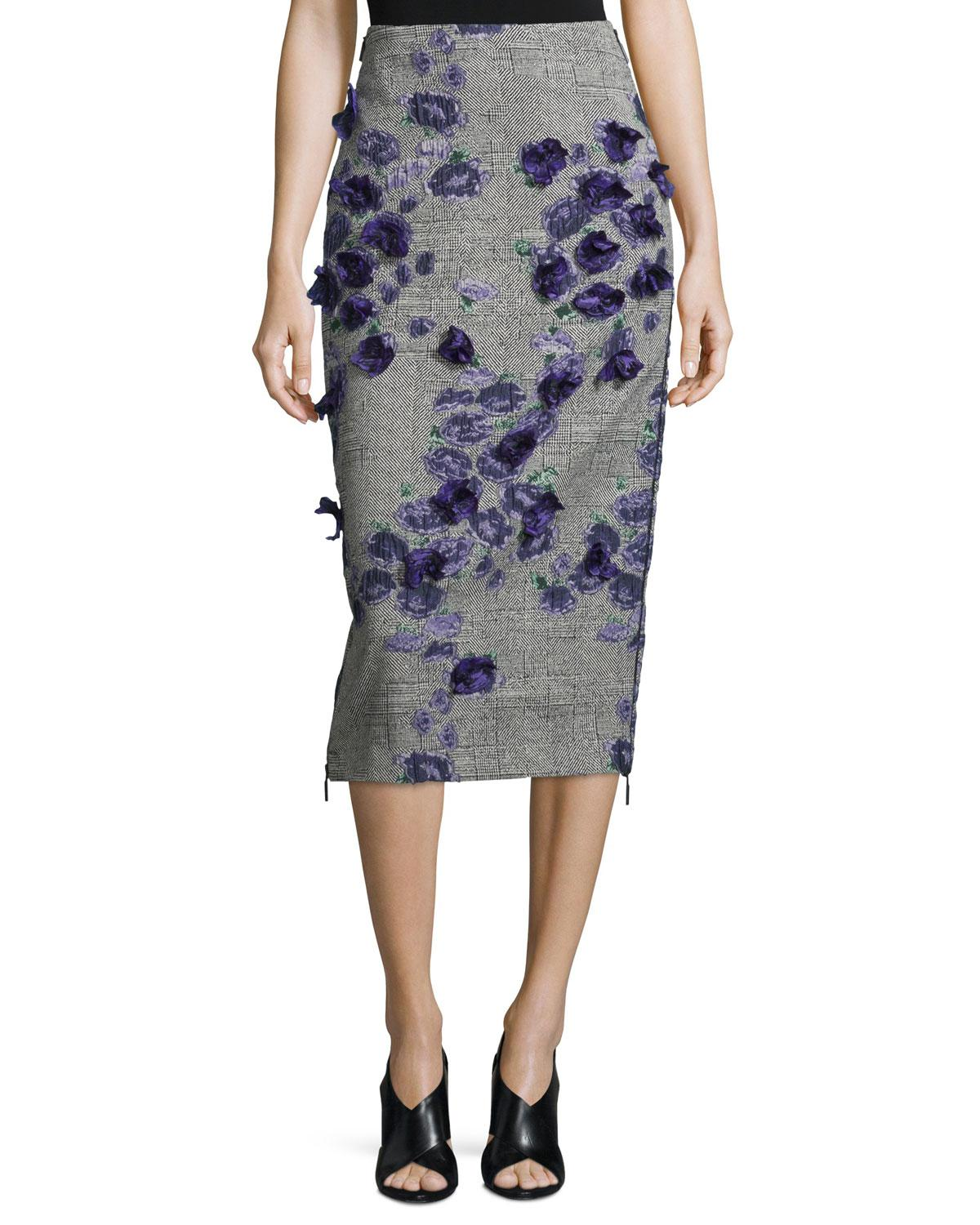 Jason wu Jacquard Pencil Skirt W/floral Appliques in Black ...