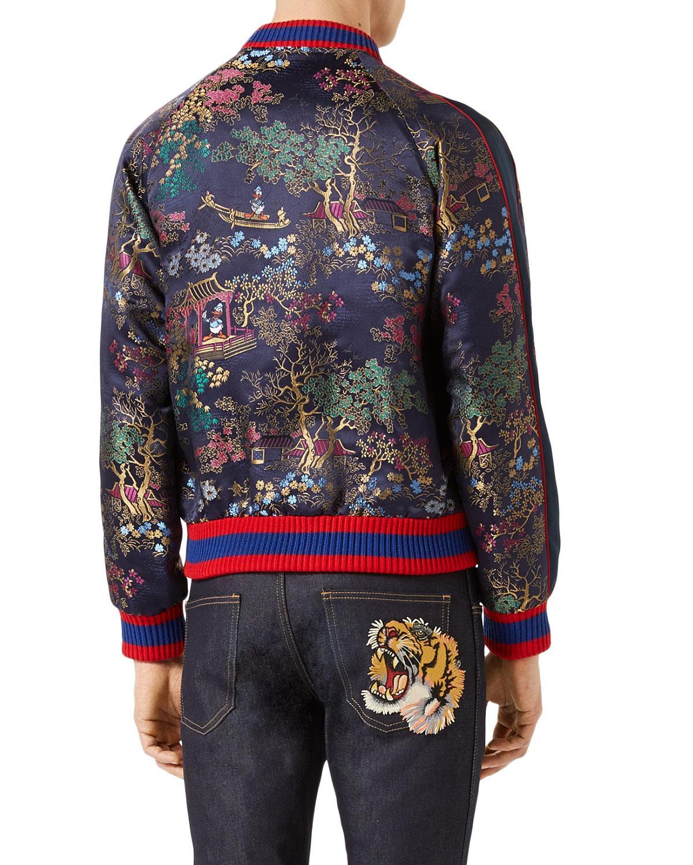 Lyst Gucci Donald Duck Souvenir Jacket In Blue For Men