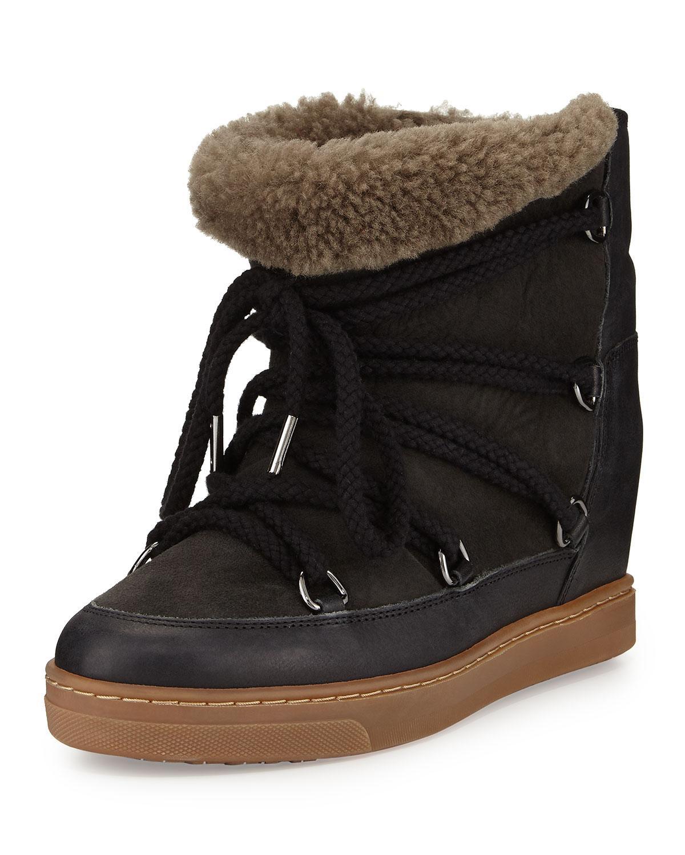 isabel marant nowles shearling fur lined ankle boot in black lyst. Black Bedroom Furniture Sets. Home Design Ideas