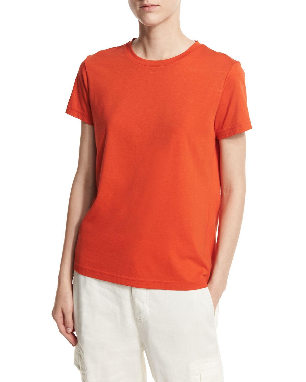Lyst vince crewneck pima cotton boy tee in orange for Vince tee shirts sale