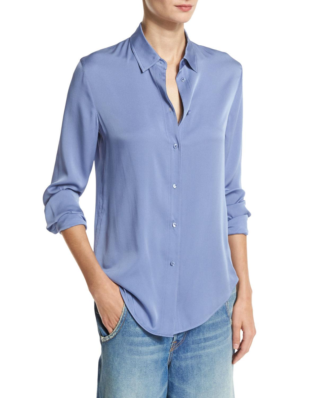 3f3dcfbfcc8e21 Lyst - Vince Slim-fit Stretch-silk Blouse in Blue