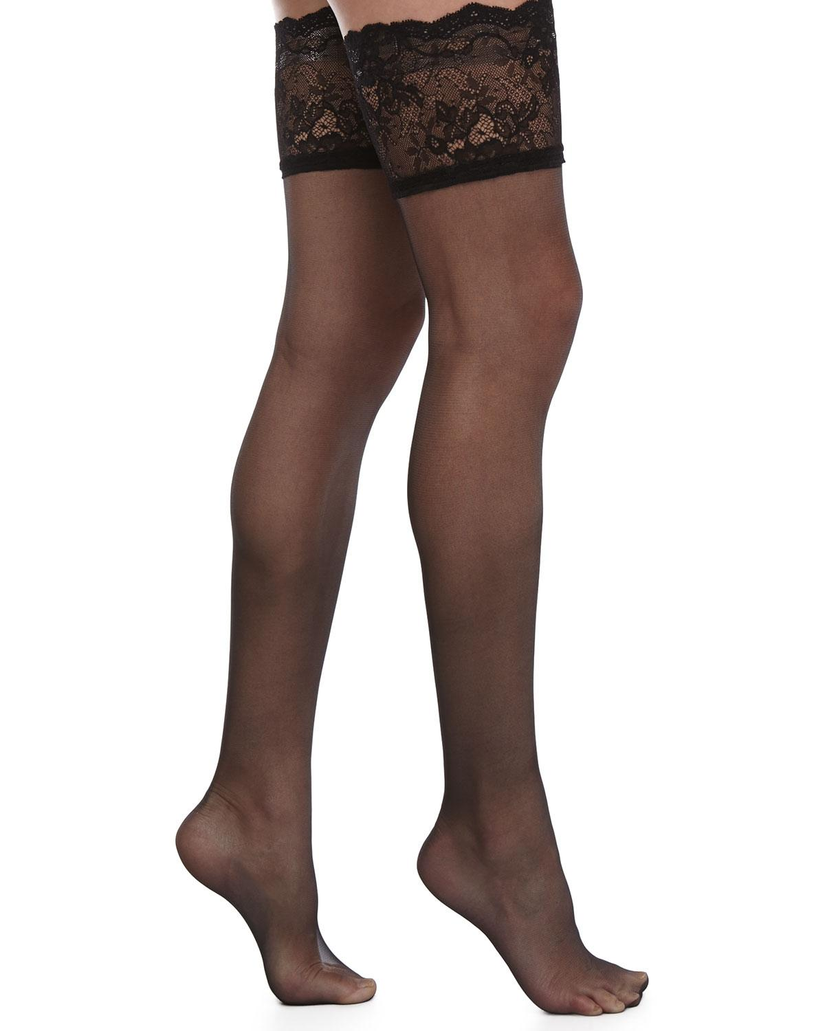 Donna Karan Signature Chantilly Lace Thigh High Stockings In Black - Lyst-2996