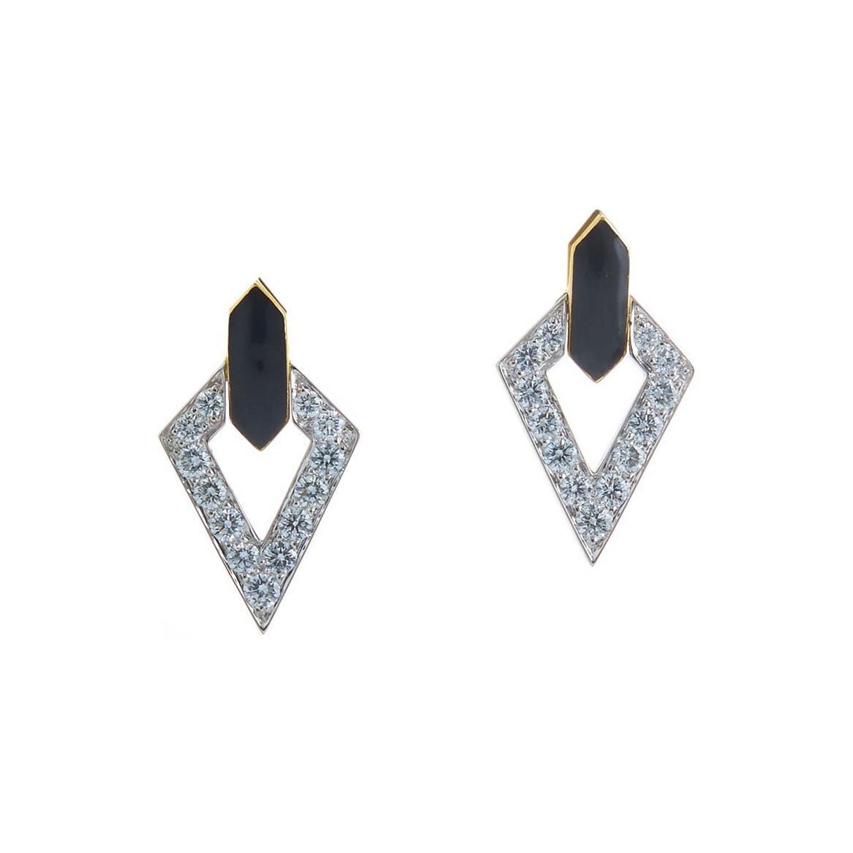 David Webb White Enamel & Diamond Unity Earrings OKJ0VCml3a