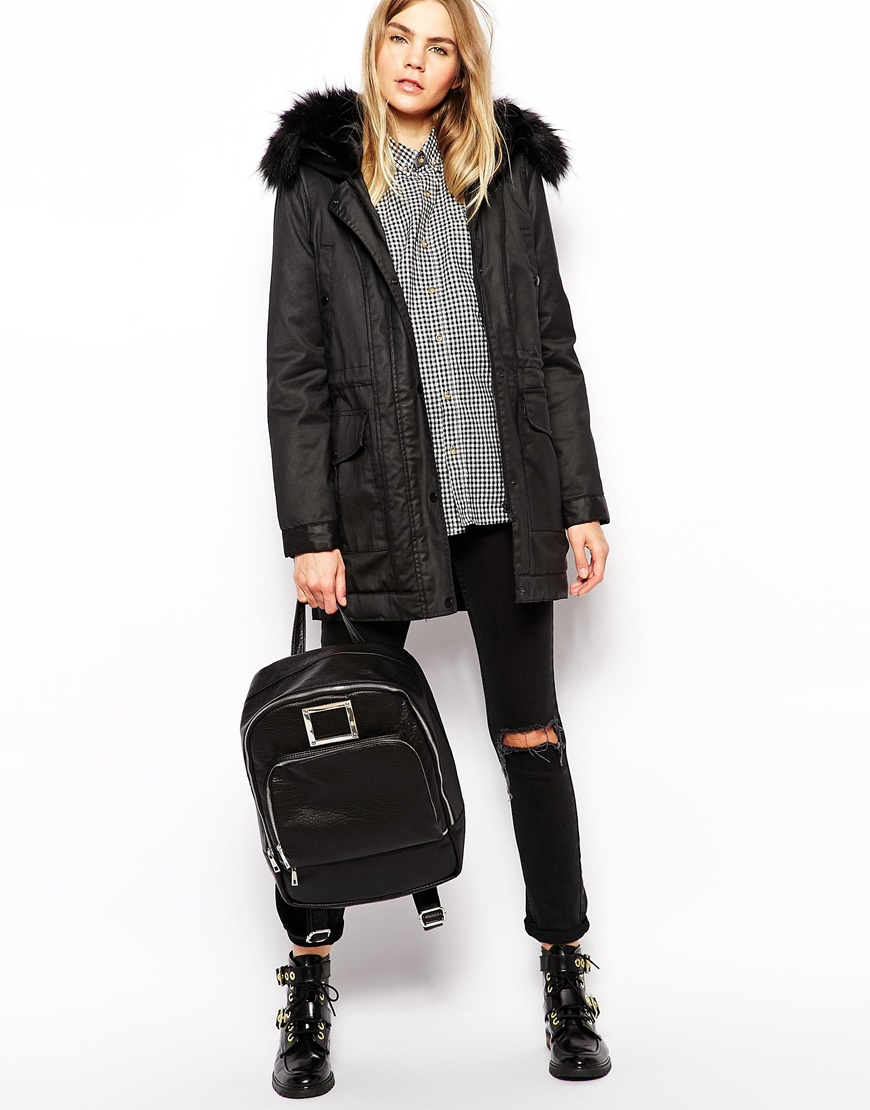 Parka london Greta Waxed Parka With Hood in Black | Lyst