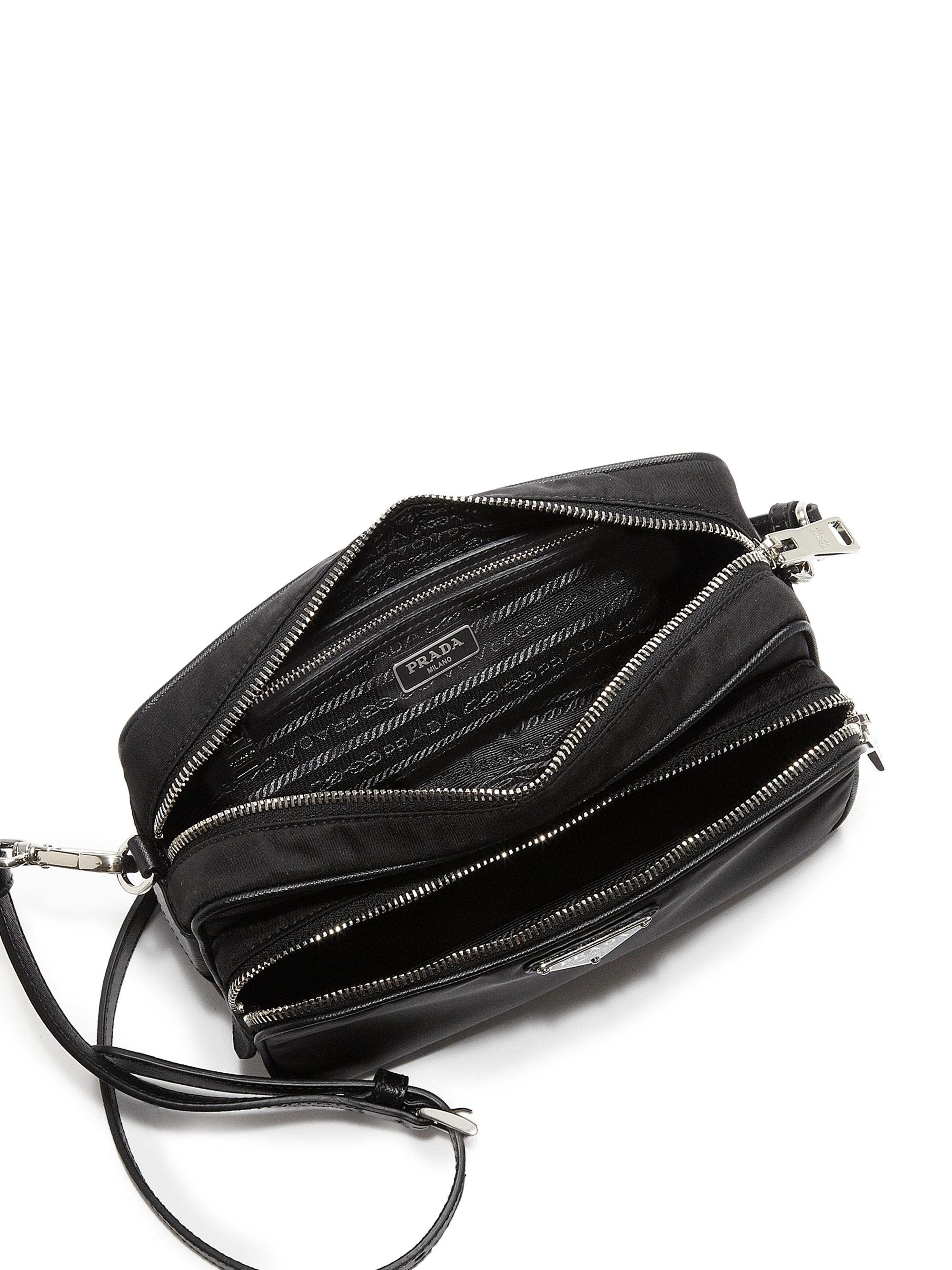 Prada Tessuto  u0026amp  Saffiano Camera Bag in Black  e7d53808a3b74