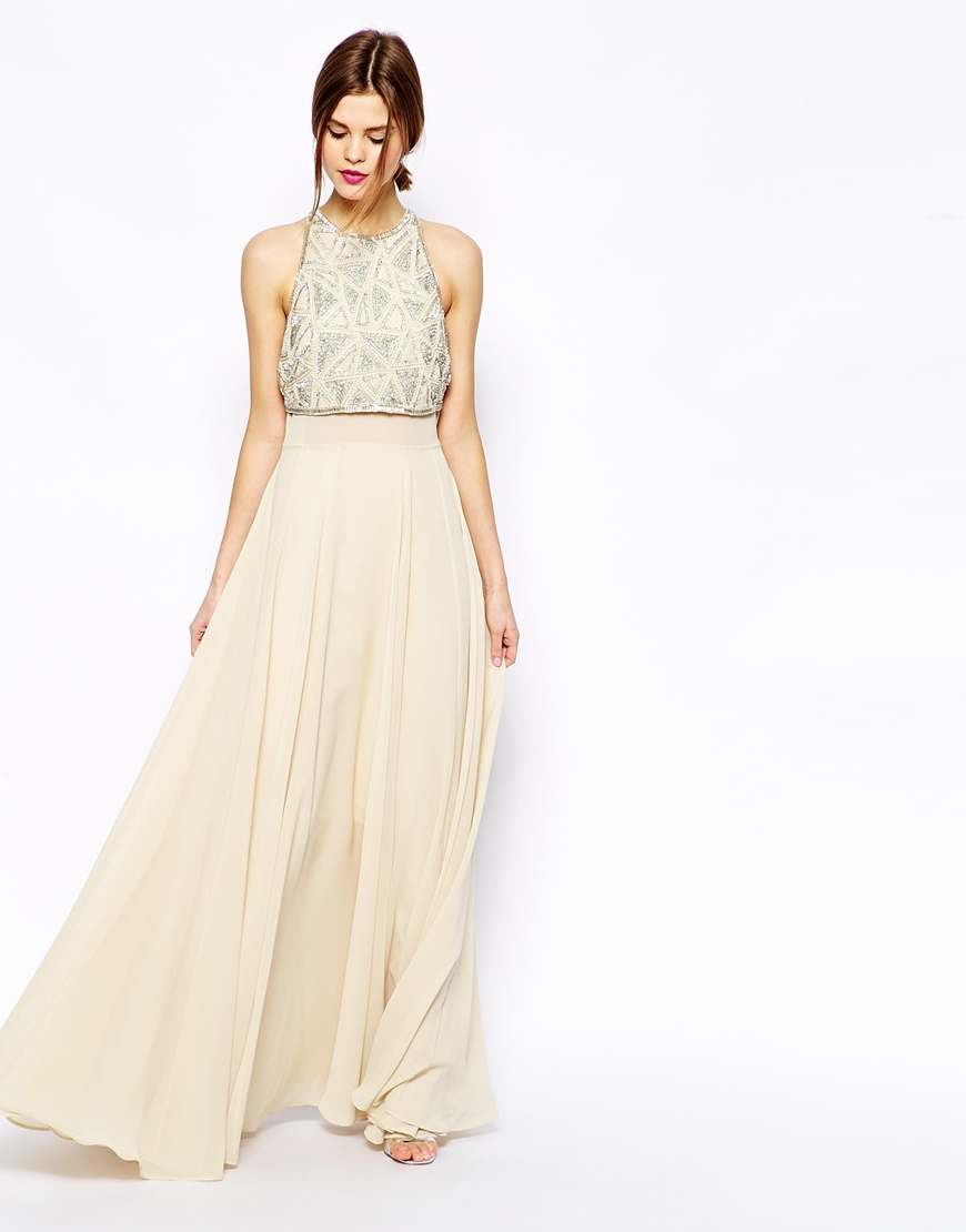 d2c516a95b6 ASOS Maxi Dress With Embellished Crop Top in Natural - Lyst