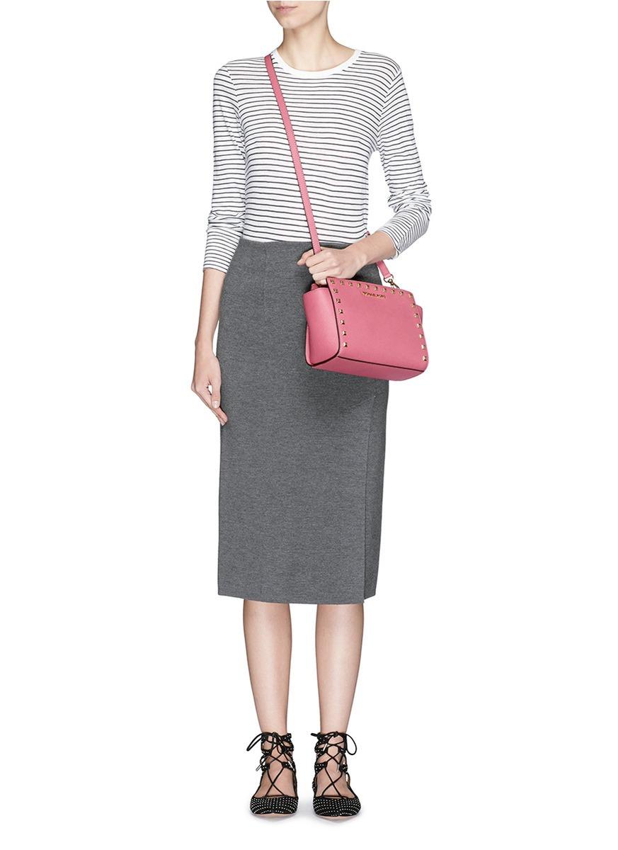 b5c4bcf5c135 ... cheap michael kors selma stud medium shoulder bag in pink lyst 2ad92  344de ...