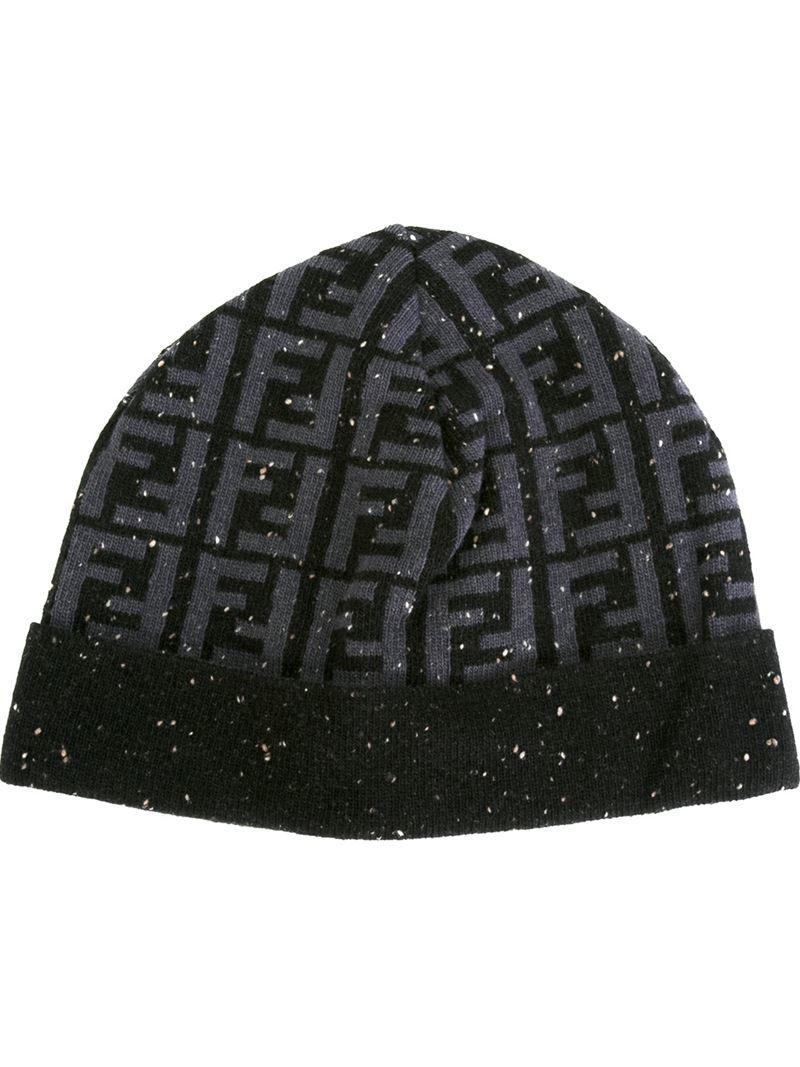 879767ad5be Fendi Monogram Knit Beanie in Black for Men - Lyst
