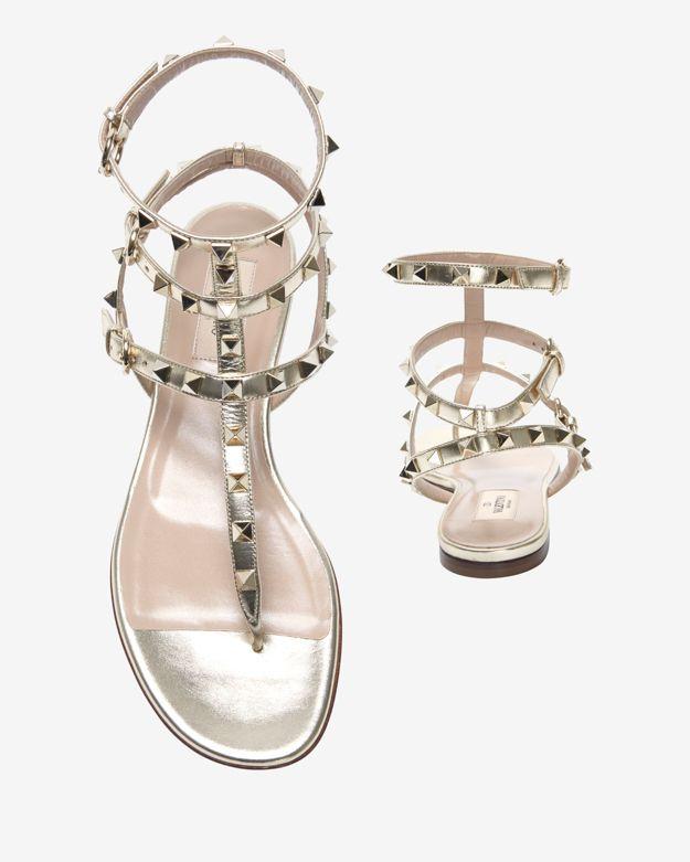 d97bee1ea3b Lyst - Valentino Rockstud Triple Strap Gladiator Flat Sandal Silver ...