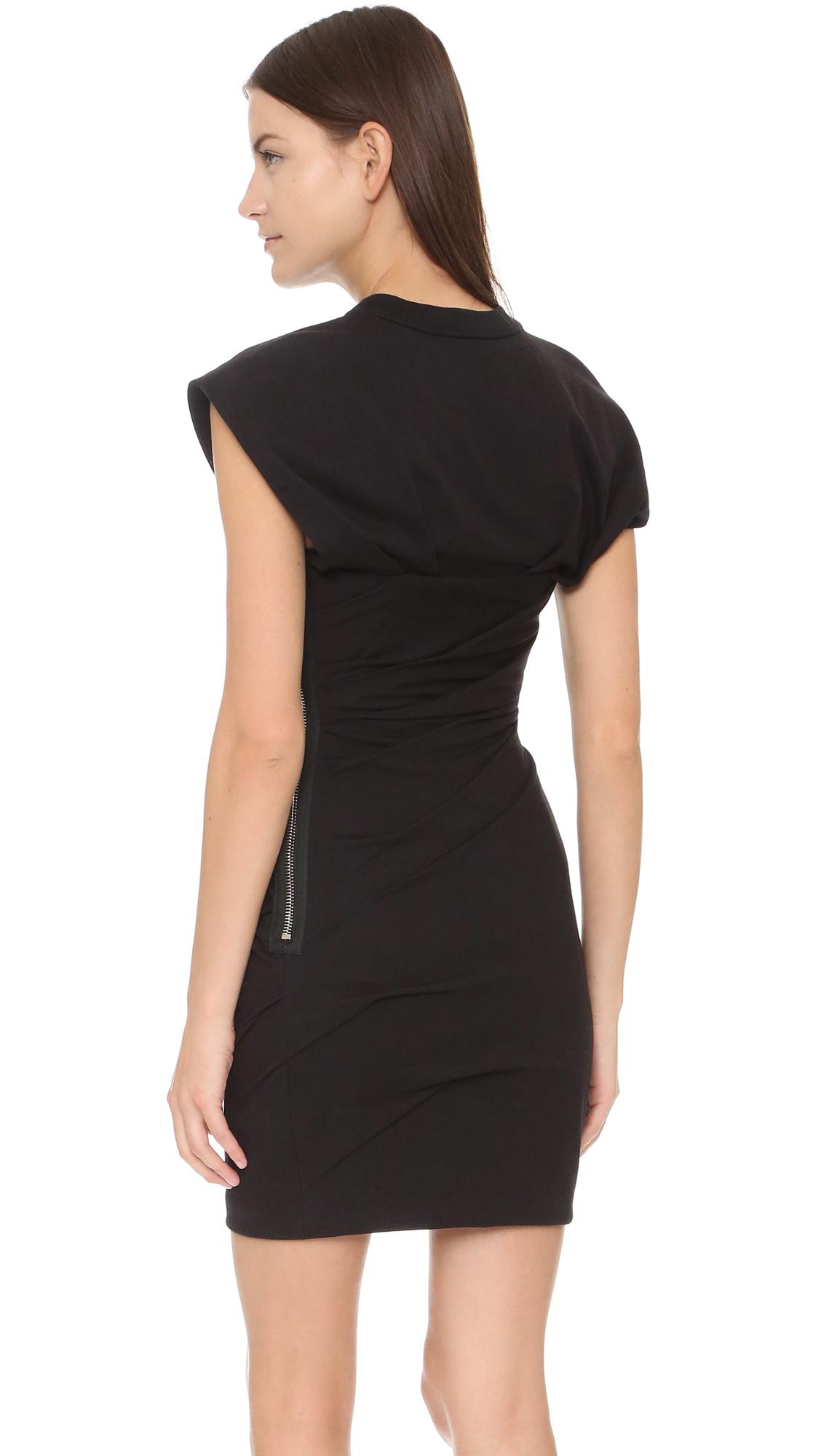lyst alexander wang draped bustier t shirt dress in black