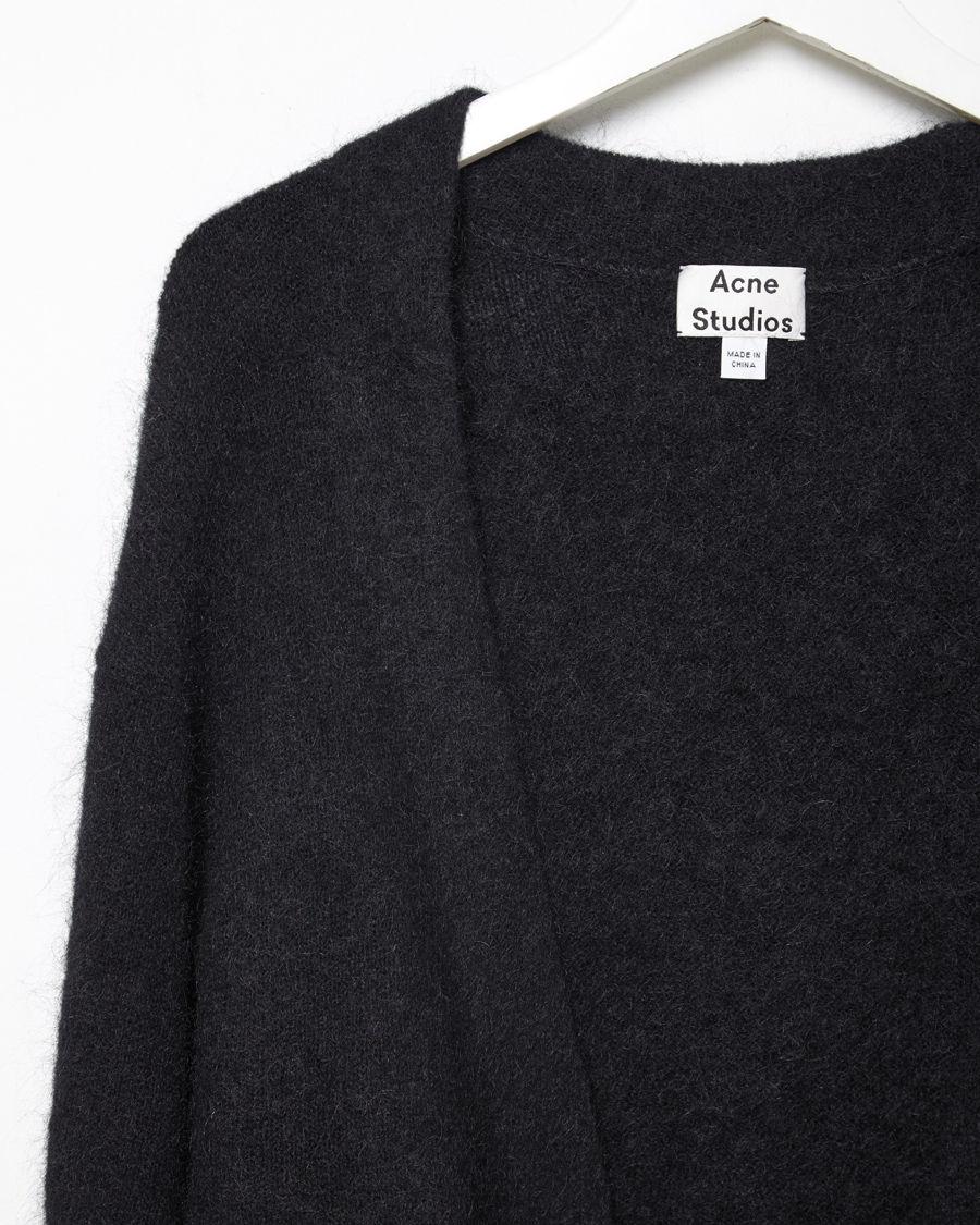 Acne studios Raya Long Mohair Cardigan in Black | Lyst