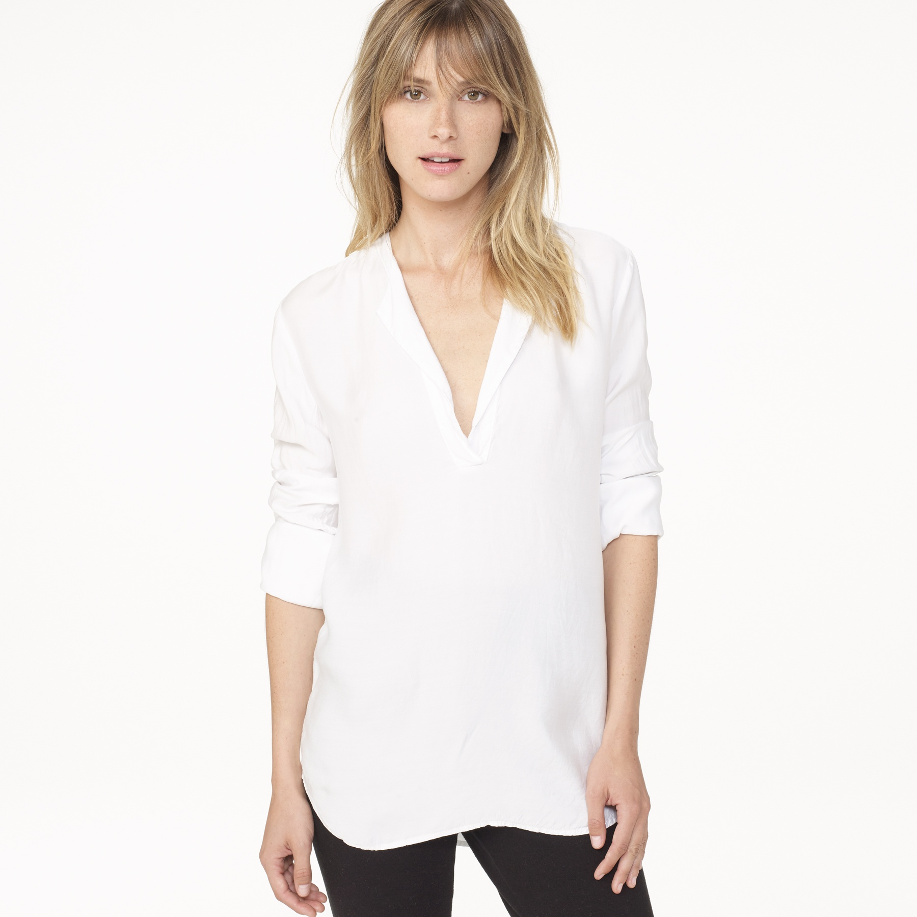 James perse sanded satin henley shirt in white lyst for James perse henley shirt