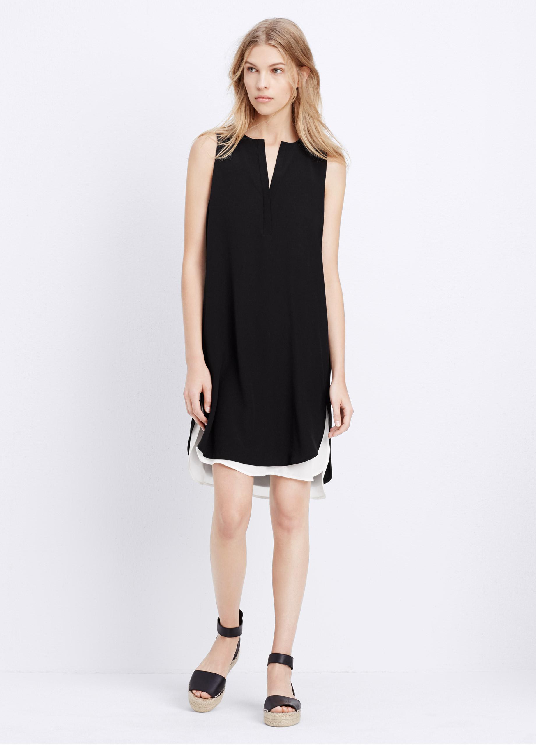 Vince Color Blocked Silk Shift Dress In Black Lyst