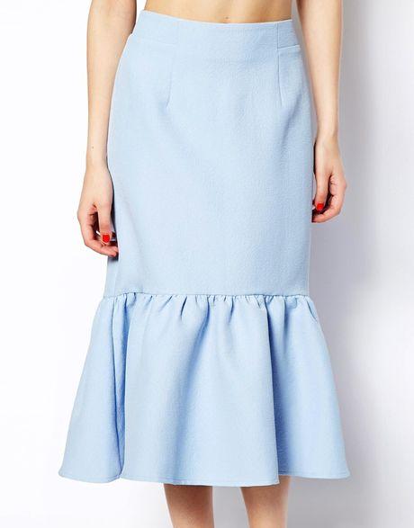 asos peplum hem pencil skirt in texture in blue lyst