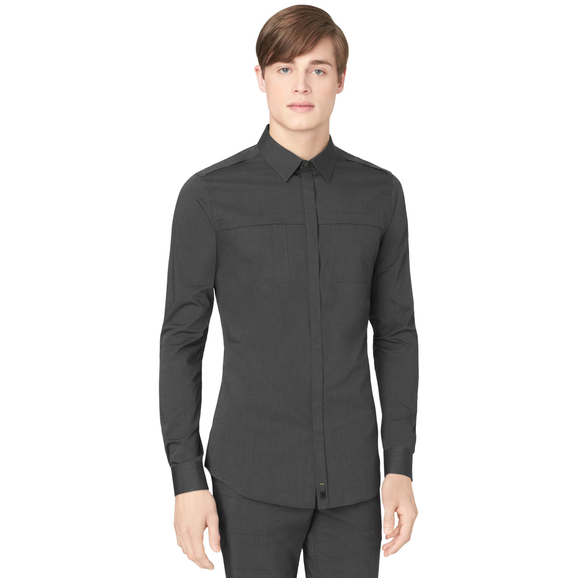 Calvin klein ck one slim fit shirt in black for men lyst for Calvin klein athletic fit dress shirt