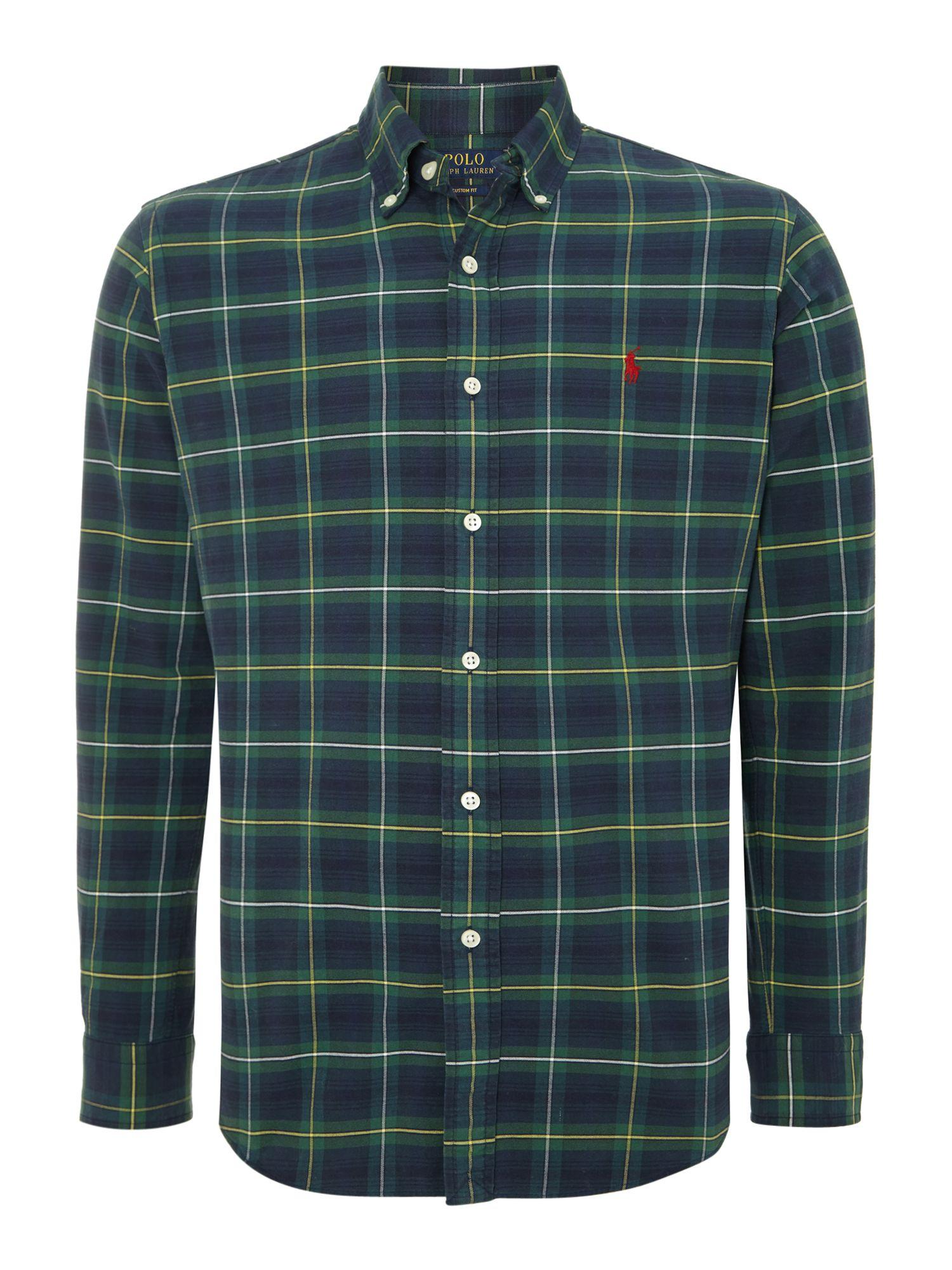 Polo ralph lauren long sleeve custom fit tartan check for Blue and green tartan shirt