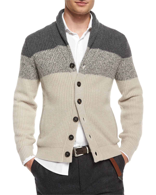 d32894700 Lyst - Brunello Cucinelli Shawl-collar Colorblock Cashmere Cardigan ...