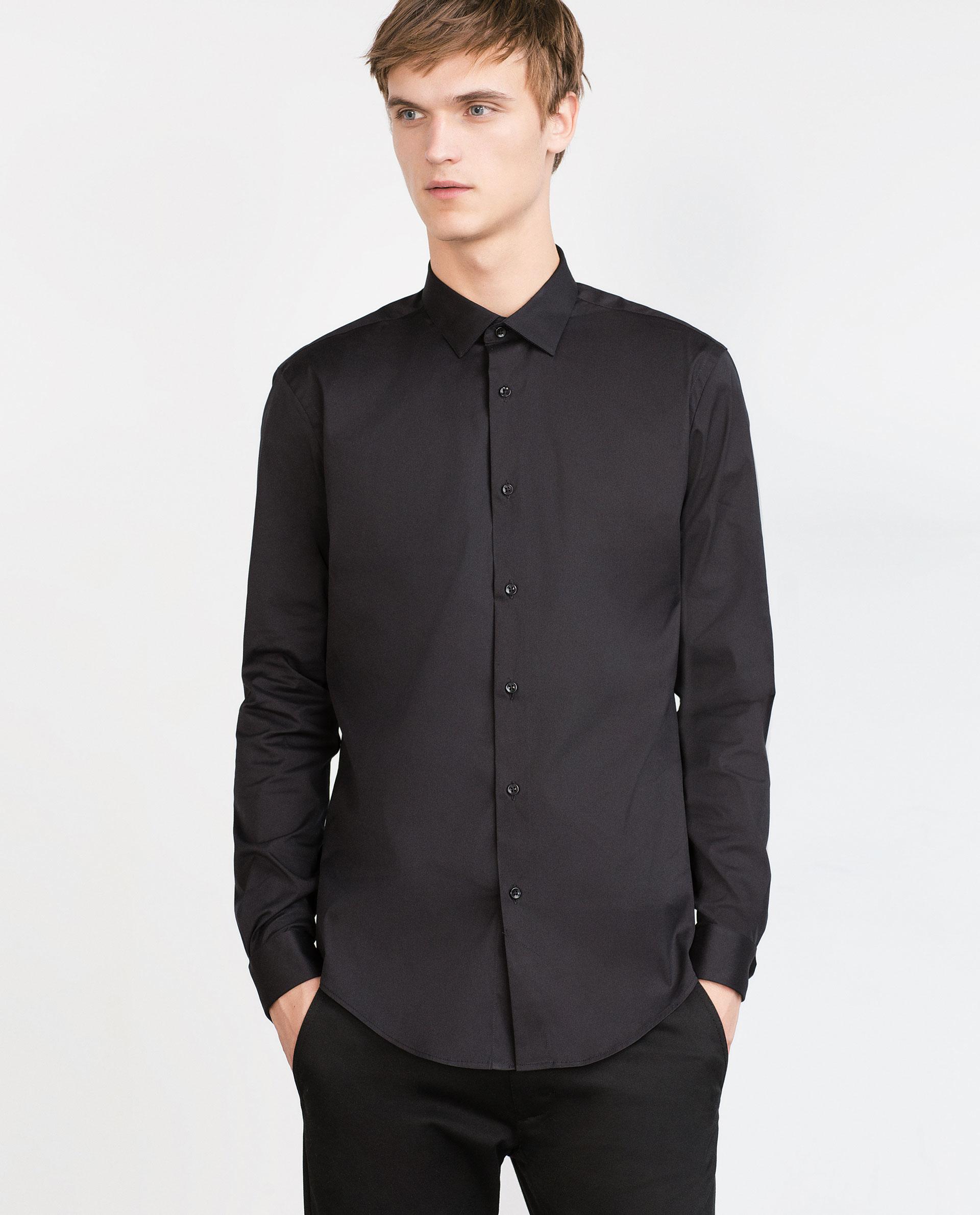 Zara stretch shirt in black for men lyst for Zara mens shirts sale